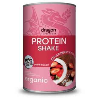 Shake Proteic Capsuni si Cocos Bio Dragon Superfoods 450 g