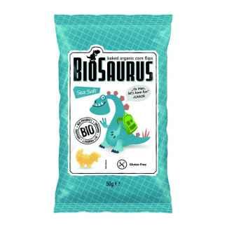 Snacks Bio de Porumb cu Sare de Mare Fara Gluten Biosaurus 50 g