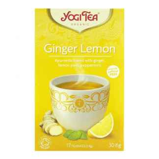 Bio Yogi Tea Ginger Lemon Ceai ayurvedic cu Ghimbir, Coaja de Lamaie si Menta 30,6 g