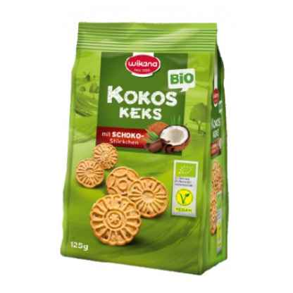 Bio Biscuiti cu Cocos si Bucati de Ciocolata Wikana 125 g