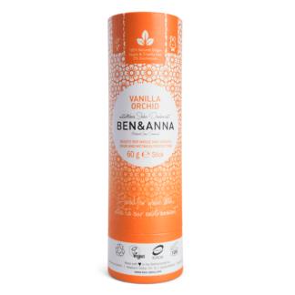 Deodorant Natural Vegan Stick Tub Carton Vanilla Orchid Ben & Anna 60 g