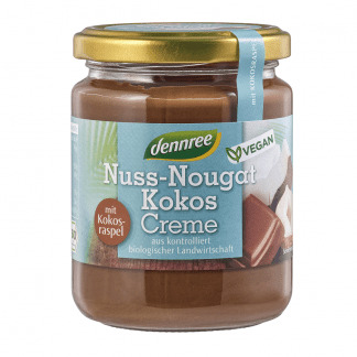 Crema Bio de Ciocolata Tartinabila cu Nuci 40 % si Cocos Vegan Dennree 250 g