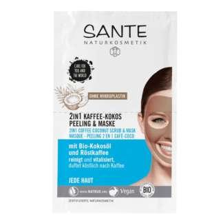Masca de Fata pentru Toate Tipurile de Ten cu Cafea si Cocos Vegan Sante 2 x 4 ml