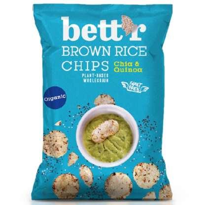 Chips din Orez Integral cu Quinoa si Chia Bio Vegan Fara Gluten Bettr 60 g