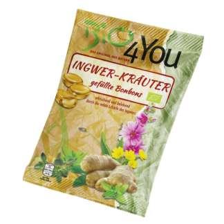 Bio Bomboane cu Ghimbir si Verdeturi Vegan Bio4You 75 g