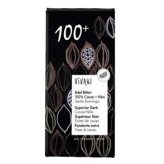 Bio Ciocolata Neagra cu Miez de Boabe de Cacao 100 % Vivani 80 g