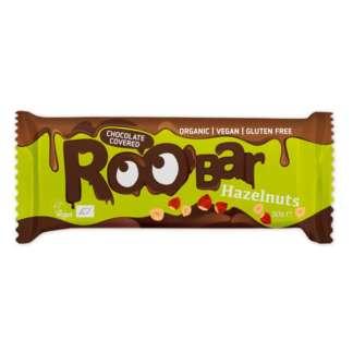Bio Baton Invelit in Ciocolata cu Alune de Padure Vegan Fara Gluten Roobar 30 g