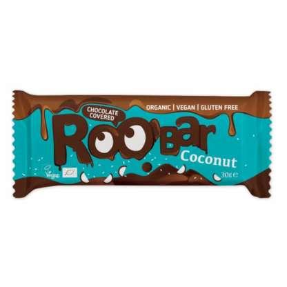 Bio Baton Invelit in Ciocolata cu Cocos Vegan Fara Gluten Roobar 30 g
