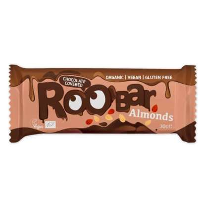 Bio Baton Invelit in Ciocolata cu Migdale Vegan Fara Gluten Roobar 30 g