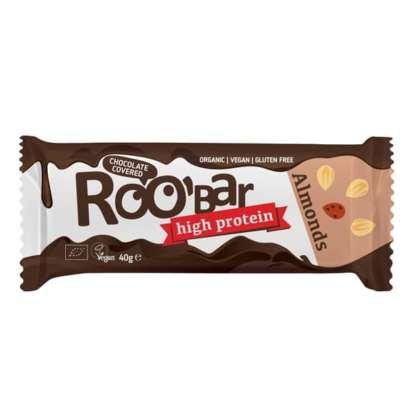 Bio Baton Proteic cu Migdale Invelit in Ciocolata Vegan Fara Gluten Roobar 40 g