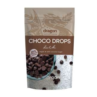 Bio Choco Drops cu Ciocolata Neagra Vegan Dragon Superfoods 250 g