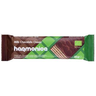 Bio Napolitana Invelita in Ciocolata cu Lapte Classic Harmonica 40 g