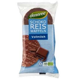Bio Rondele din Orez Expandat cu Ciocolata cu Lapte Dennree 100 g